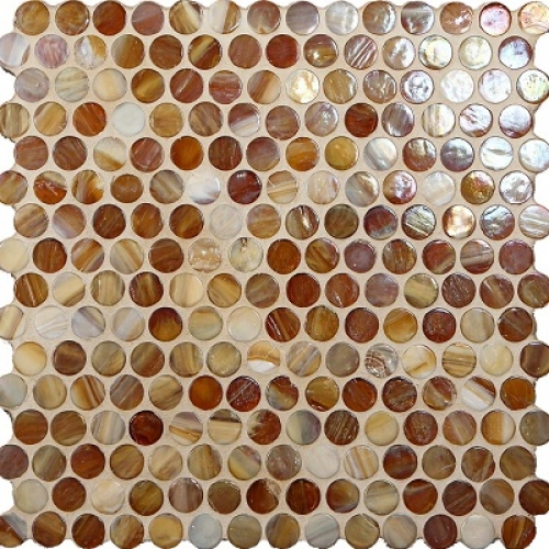 Marbleized Penny Round Teak Pearl
