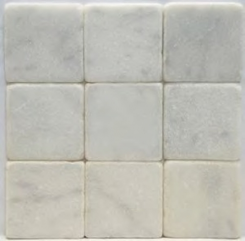 TUMBLED 4 X 4 WHITE CARRARA